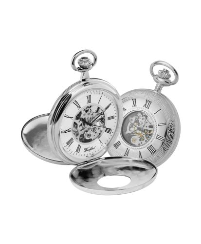Mechanical Chrome Plated Half Hunter Patterned Pocket Watch With Chain